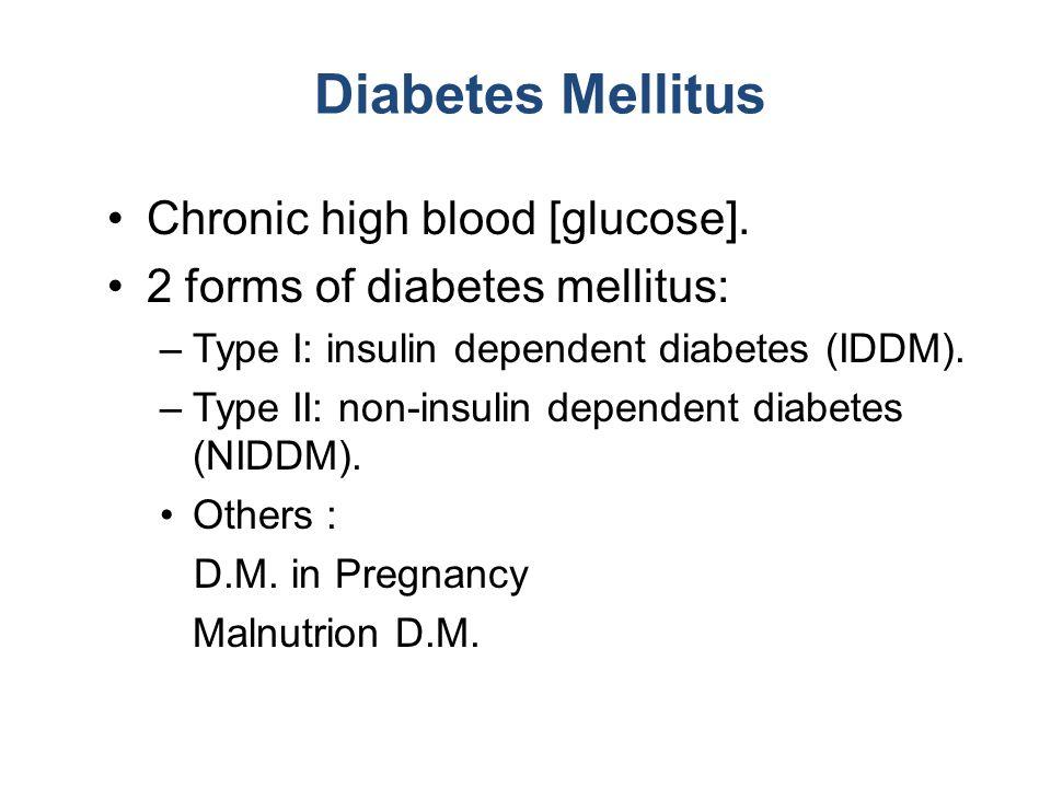 Diabetes Mellitus Chronic high blood [glucose].